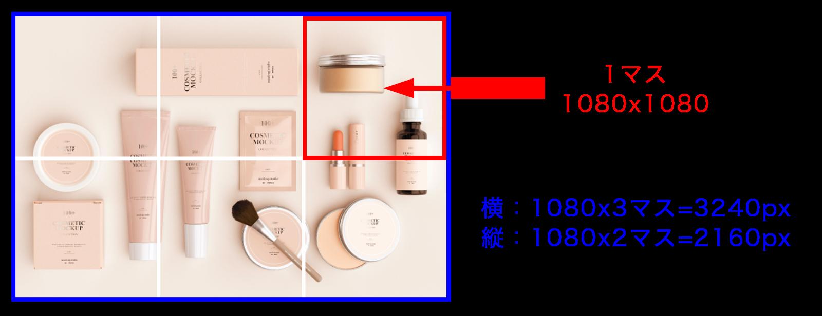 画像サイズは1080x1080が何マスあるかで決める